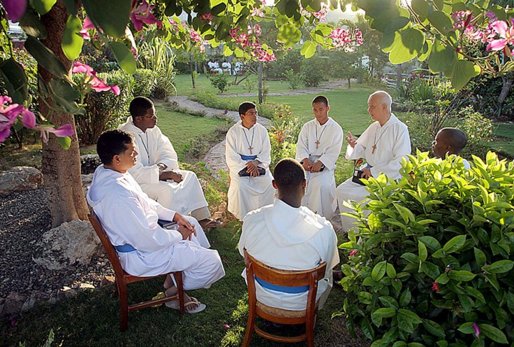 Fr Ho Lung and brothers sharing faith, Kingston, Jamaica