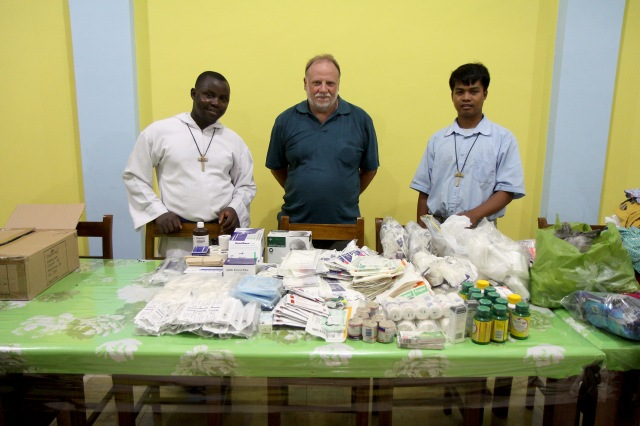 Medical supplies (Chris with Brothers Emmanuel and Joey)