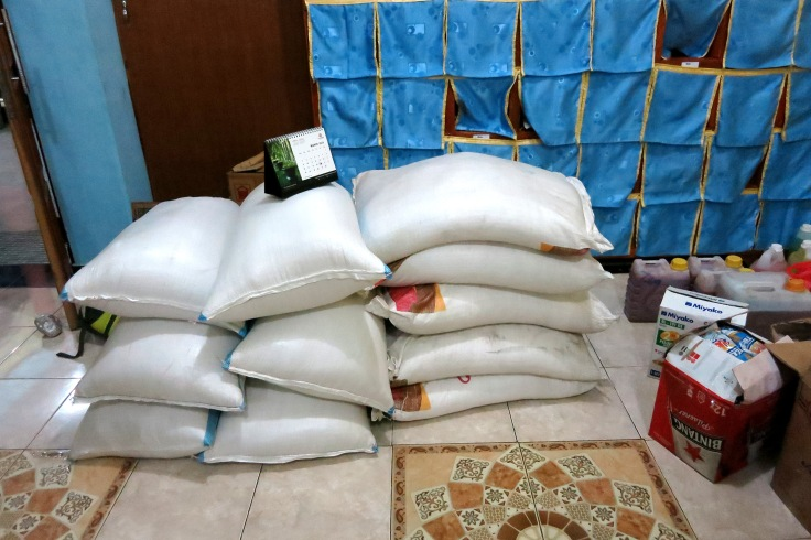 29. Six bags of rice and five bags of sugar kindly sponsored by 'Cafe Delamor', Brisbane