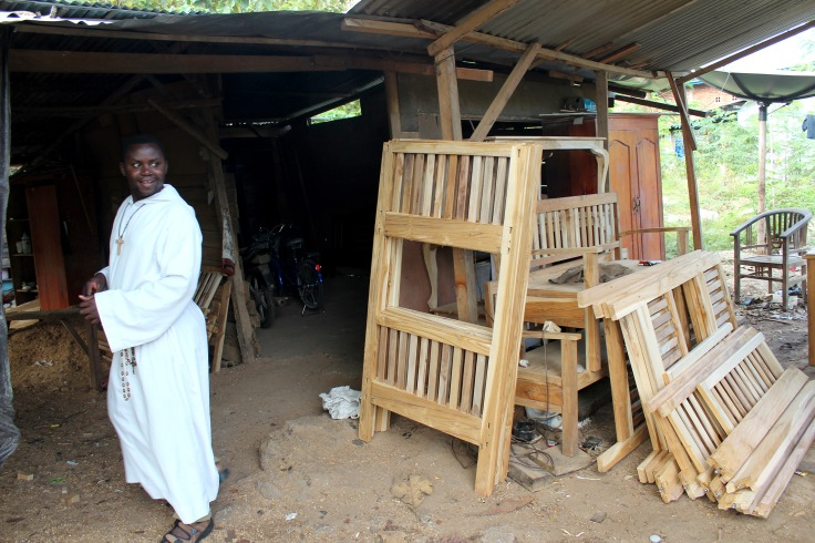 Brother Emmanuel is particularly pleased with the cots for the apostolate (June 2013)