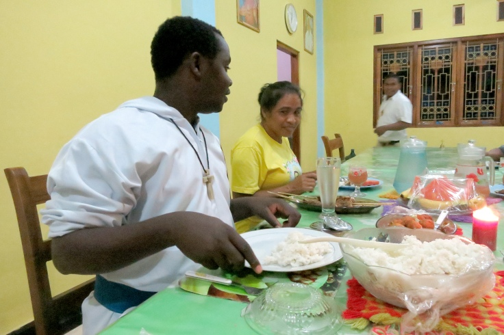 Melani's Grandma sharing dinner at the monastery, Br Emmanuel in foreground (2015)