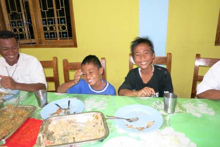 Devon on right with Angel on left at dinner with the brothers