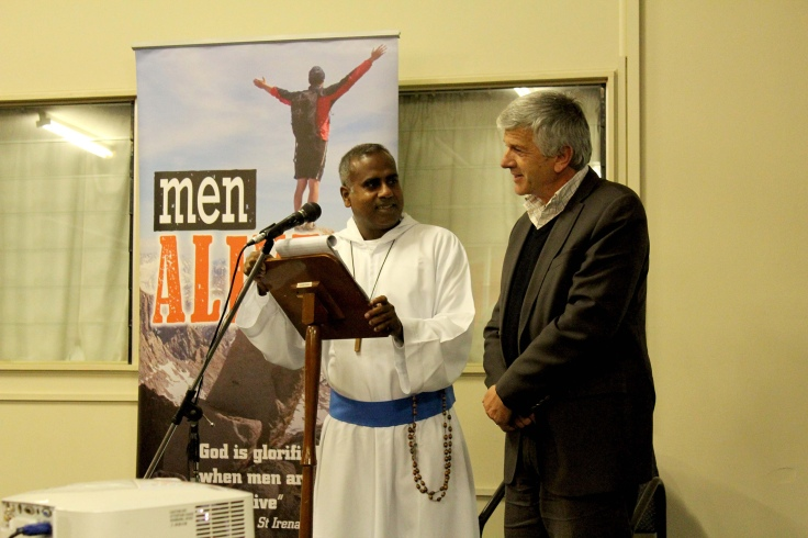 1 Robert Falzon, founder of Men Alive ministry, with Fr Ambrose