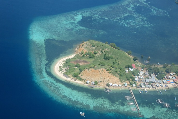 2. Flying over a small island community on our descent