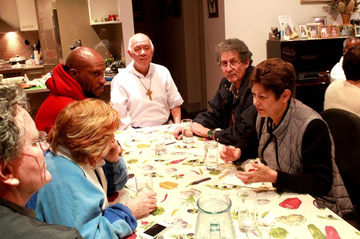 17. Sharing dinner with Brisbane associates and Father's old friends from Jamaica (on right) Mary and Doyle Ramsay