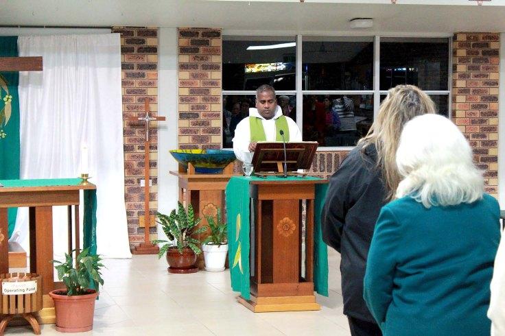 2. Fr Ambose annuncing the Gospel at St Bernardines Parish, Regents Park, Brisbane