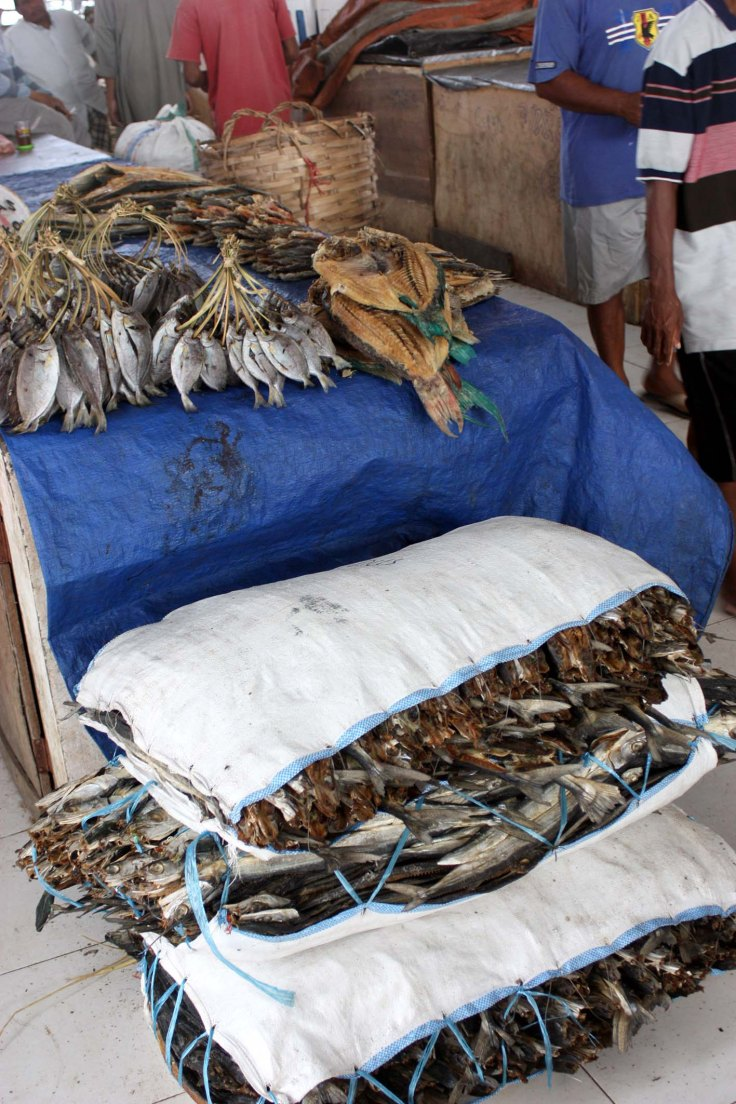 8. Dried fish stacked high at the markets